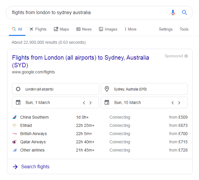 Google search - flights from london to sydney australia