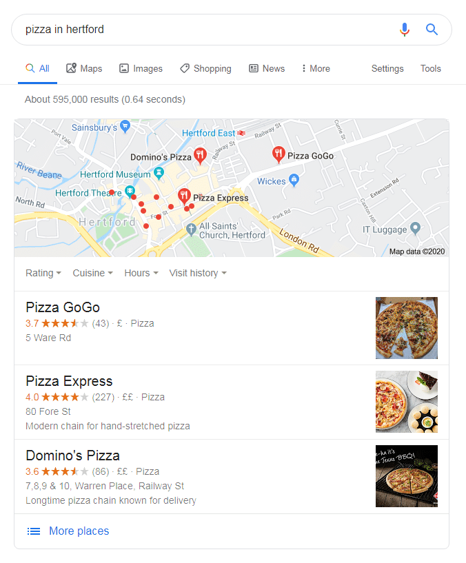 Google search - pizza in hertford