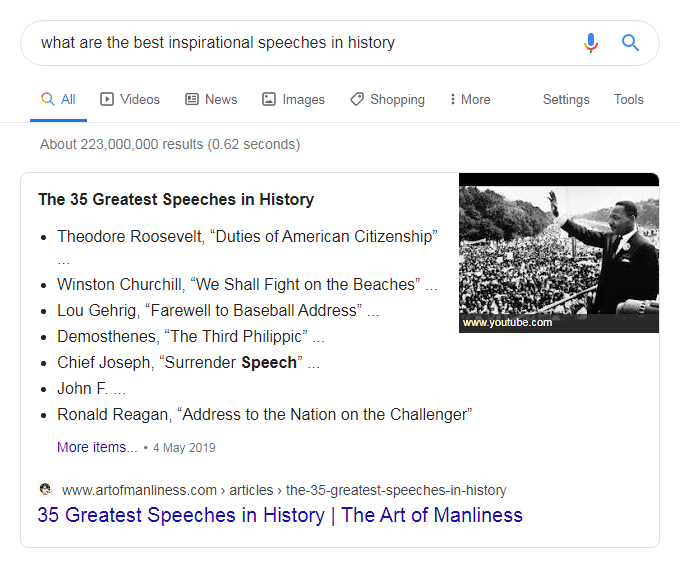 Google search - what are the best inspirational speeches in history