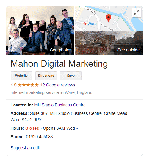 Google search - Mahon Digital